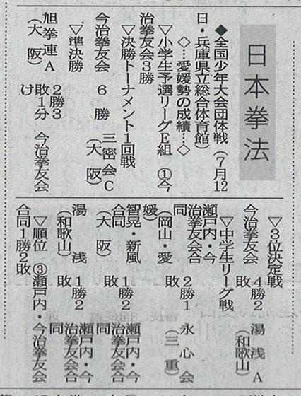 愛媛新聞「Sportえひめ」全国少年大会団体戦